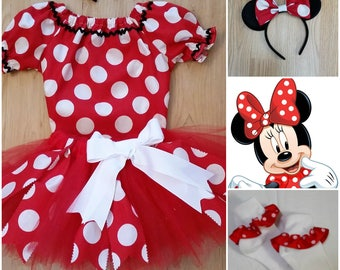 Minnie Mouse Inspired Costume, Minnie Mouse Halloween, Minnie Mouse Birthday, Minnie Meet & Greet, Red Minnie Costume