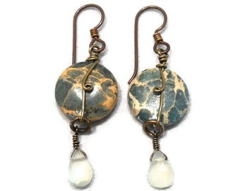 Wire Wrapped Jewelry Stone Earrings Dangle Variscite Prehnite Antiqued Brass Hypoallergenic Niobium Ear Wires