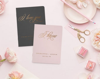 Wedding Vow Books, Gold Foil Press on White Vow Book, Personalized Wedding Vow Books, Calligraphy Vow Books, I Love You I Know Vow Book