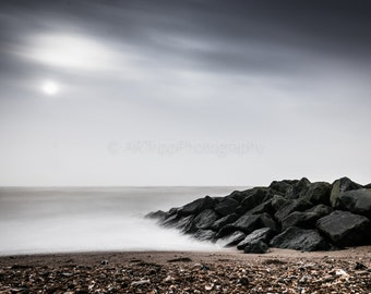 Beach Landscape Photography Print, Seaside Coast Wall Art, Cold Moody Nature Print, Colour/Black And White