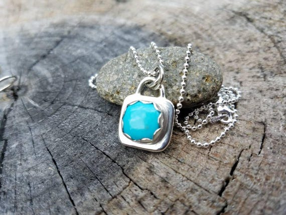 Simple Turquosie Pendant Sterling Silver Necklace,  Southwest, Cowgirl, Boho, Minimal style.  By Helenes Dreams