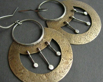 Large Boho Mixed Metal Earrings, Nefertiti Egyptian Inspired Jewelry, Sterling Silver, Bronze, Swingy And Exotic