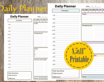 Daily Planner Printable, 2018 Planner Inserts, Instant Download PDF, Letter Size, 8,5 x 11 Planner