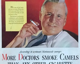 """1946 Camel Cigarettes """"More Doctors smoke Camels than any other cigarette"""""""