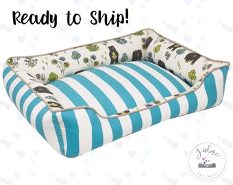 Cute Dog Bed or Cat Bed with Bear Fabric | Washable, Ready to Ship!
