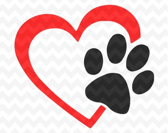 Paw Print SVG Cut Files, Paw Print and heart Svg Files and PNG Image, Pawprints, Dog Paw, Cat Paw, Cut File for Silhouette and Cricut