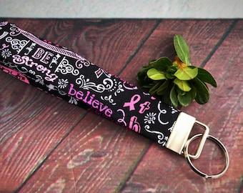Breast cancer key fob, fabric key fob, key chain, wristlet