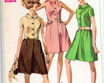 Vintage 60's Shirt Dress Pattern: Simplicity 7982, size 14, bust 36; c. 1969