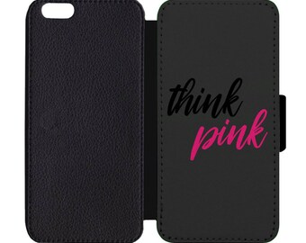 October Think Pink Breast Cancer Awareness Print Leather Flip Wallet Case Apple iPhone 5 5S SE 6 6S 7 7S 8 8S X Plus