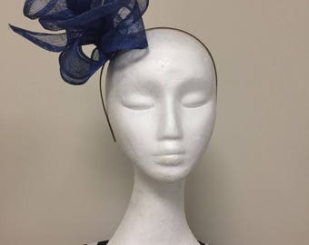 Ladies Small Royal Blue fascinator perfect for weddings and race days.