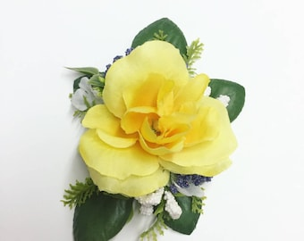 Yellow Tea Rose Flower Clip/Comb with Leaves