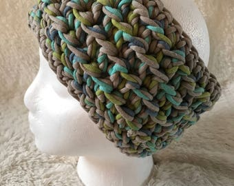 The Nylon Headband | Crochet Ear Warmer with Gray, Blue, Turquoise and Green Nylon Yarn | Soft, Warm, Stretchy | Women or Teen | Adult Size