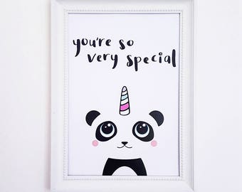 Panda Art Print | Panda Print, Panda Wall Art, Kawaii Pandicorn, Good Vibes Print, Inspirational Print, Positive Print, Motivational Print