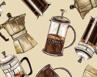 Coffee Press/Mug/Cappucino/Espresso - Quilting Cotton; [[by the half yard]]