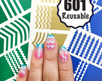 601 Reusable Nail Art Stencils Vinyl - 16 Different Shapes: Chevrons, Tribal, Arrows, French Tip and More Adhesives Guides Designs