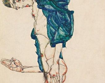 Egon Schiele Embroidery Art / framed with Walnut Wooden Frame/ Costum order
