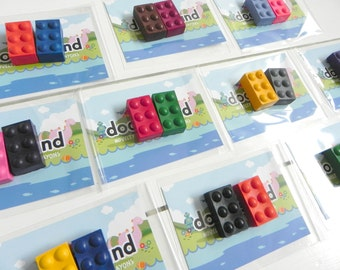 Building Brick Crayons | 10 Party Favours Crayons | Party Bag Filler | Construction Party | Birthday Party ideas | Kids Favours
