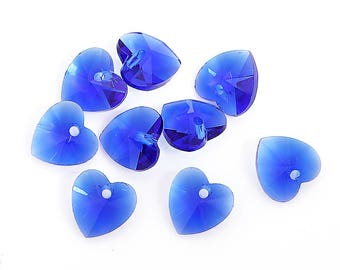 8 September Birthstone Beads Beautiful New Glass Heart Design - BD287