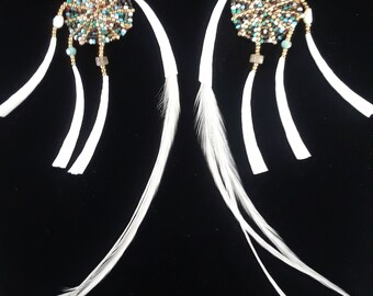 Native Beaded Dream Catcher Drop Earrings with Dentalium, Labradorite, Swarovski Crystals, Freshwater Pearls and Natural Feathers