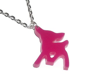 Laser Cut Necklace, Pink Deer, Kawaii Fawn