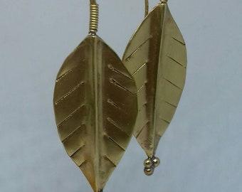 Brass Leaf Earrings