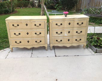 "PAIR of WIDDICOMB CHESTS / Oversized French Provincial Style Nightstands 38"" long x 34 1/2 tall / Ready for a Re do at Retro Daisy Girl"