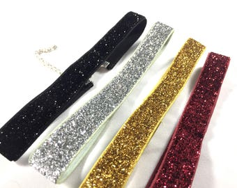 Holiday Choker / Elastic Sparkly Choker / Red Choker / Gold Choker / Black Choker / Christmas Choker / Christmas Necklace