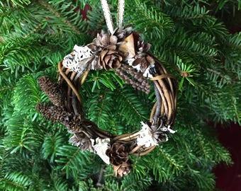 """3"""" Grapevine Wreath Christmas Ornament, All-Natural Ornament, Pinecone Ornament, Woodland Ornament, Holiday Décor, Christmas Gift"""