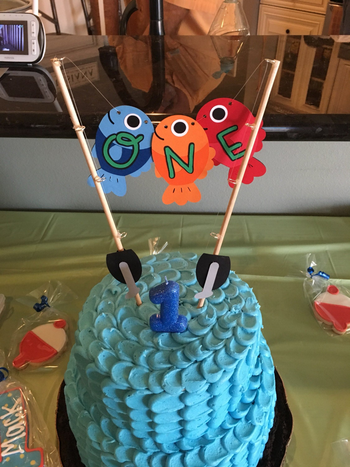 Cake Topper Smash Cake Fish Cake Topper Fishing Birthday Fish