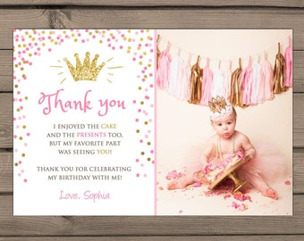 Fishing birthday thank you cards with photo fishing thank you princess thank you card little princess birthday party thank you card royal first birthday confetti crown bookmarktalkfo Image collections