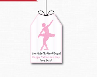 Ballerina Dance Valentine's Day Tags - Valentine's Day - Ballet Treat Tag - Digital Design or Handcrafted Tags - FREE SHIPPING