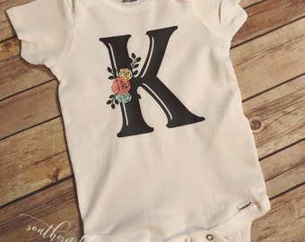 Floral Letter Onesie/Cute/Monogram/Simple