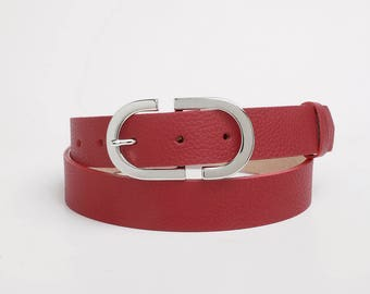 Leather Belt, Red Leather Belt, Red Womens Belt, Womens Belt