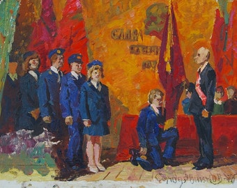 Soviet  Parade, holiday, antique,Feast, acceptance into the pioneers, the Komsomol,Solodovnikov The oath of the 28-36 km. 76g 0.05