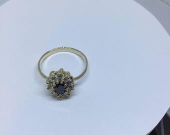 14 K Sapphire Size 7 &3/4