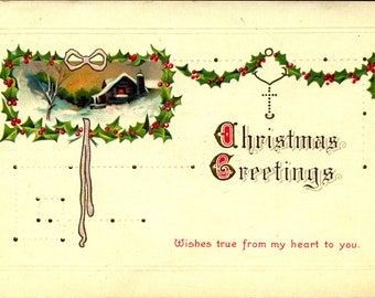 Wishes True from My Heart to You, Christmas, Holly, 1910 Embossed, Vintage Postcard XM731508