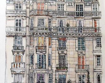 Paris Street Scene, Houses in France, Original Mixed Media Artwork