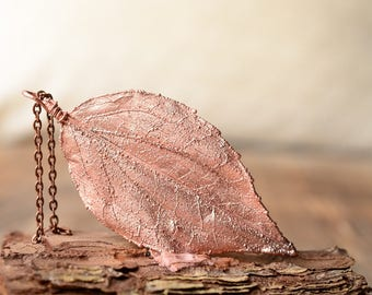nature leaf necklace gift for her copper pendant  electroplated necklace electroformed botanical jewelry Gardening gift