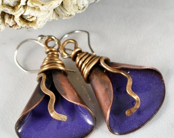 Earthy Funky NuGold Wire Wrapped Copper Lily Earrings with Torch Fired Grape Purple Enameled Center.