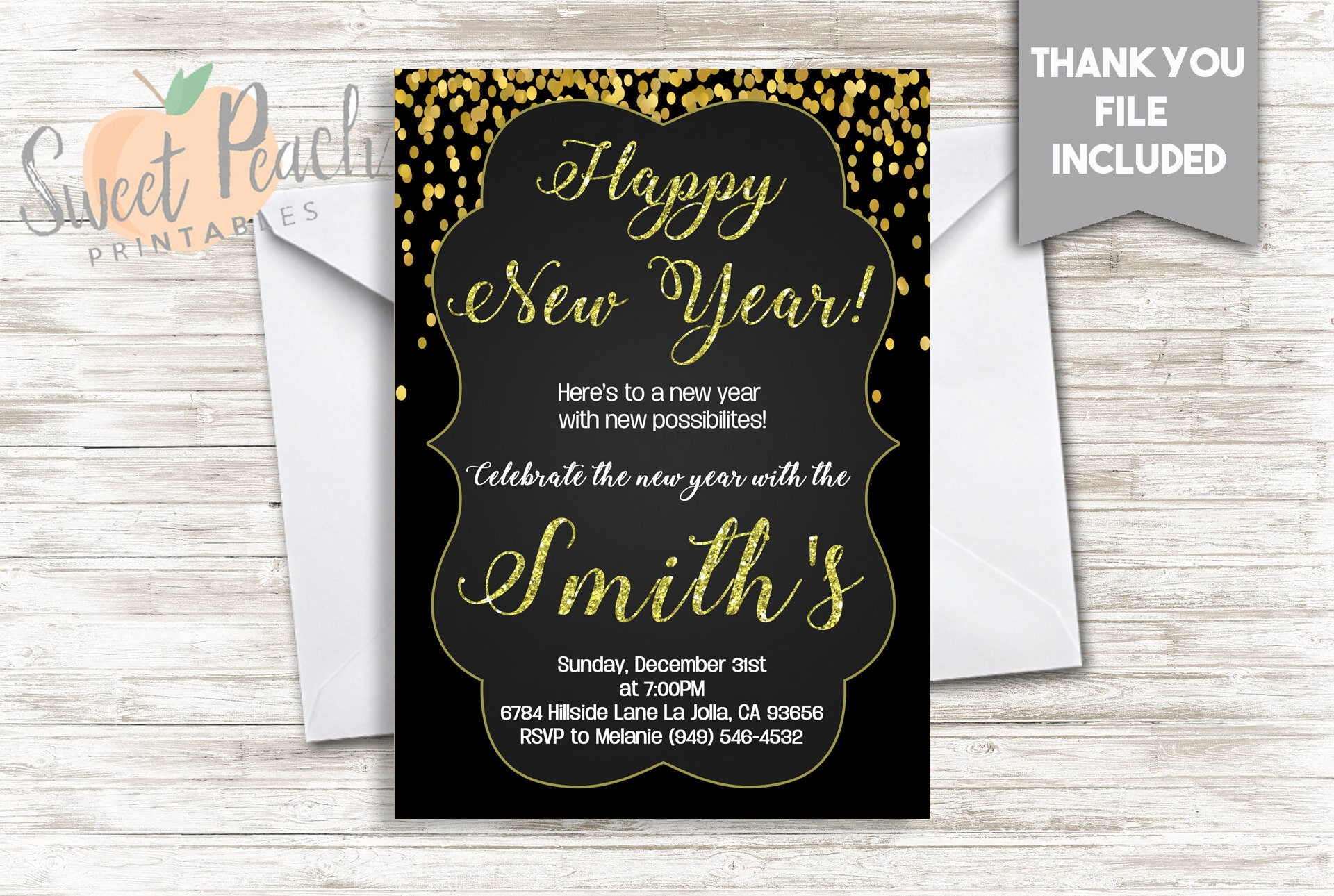 New Year\'s Eve Party Invite Invitation 5x7 Digital