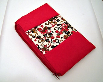 Red Suede Clutch with Olive Panel