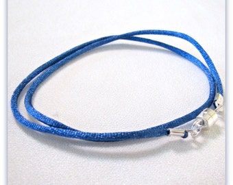12 to 24 inch Blue Satin Necklace Cord , Choker Cord, Blue Charm Cord, Blue Satin Pendant Cord, Jewelry Accessory Magnetic Clasp, Custom