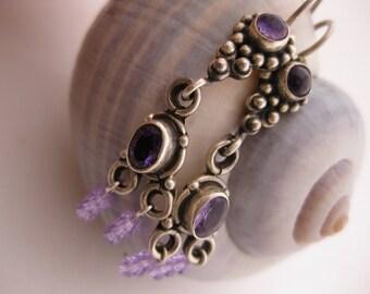 Semi-Precious Amethyst in Antiqued .925 Sterling Silver Earwires - Purple Gemstone & Silver w/Drops of Mini Lilac Purple Swarovski Crystals