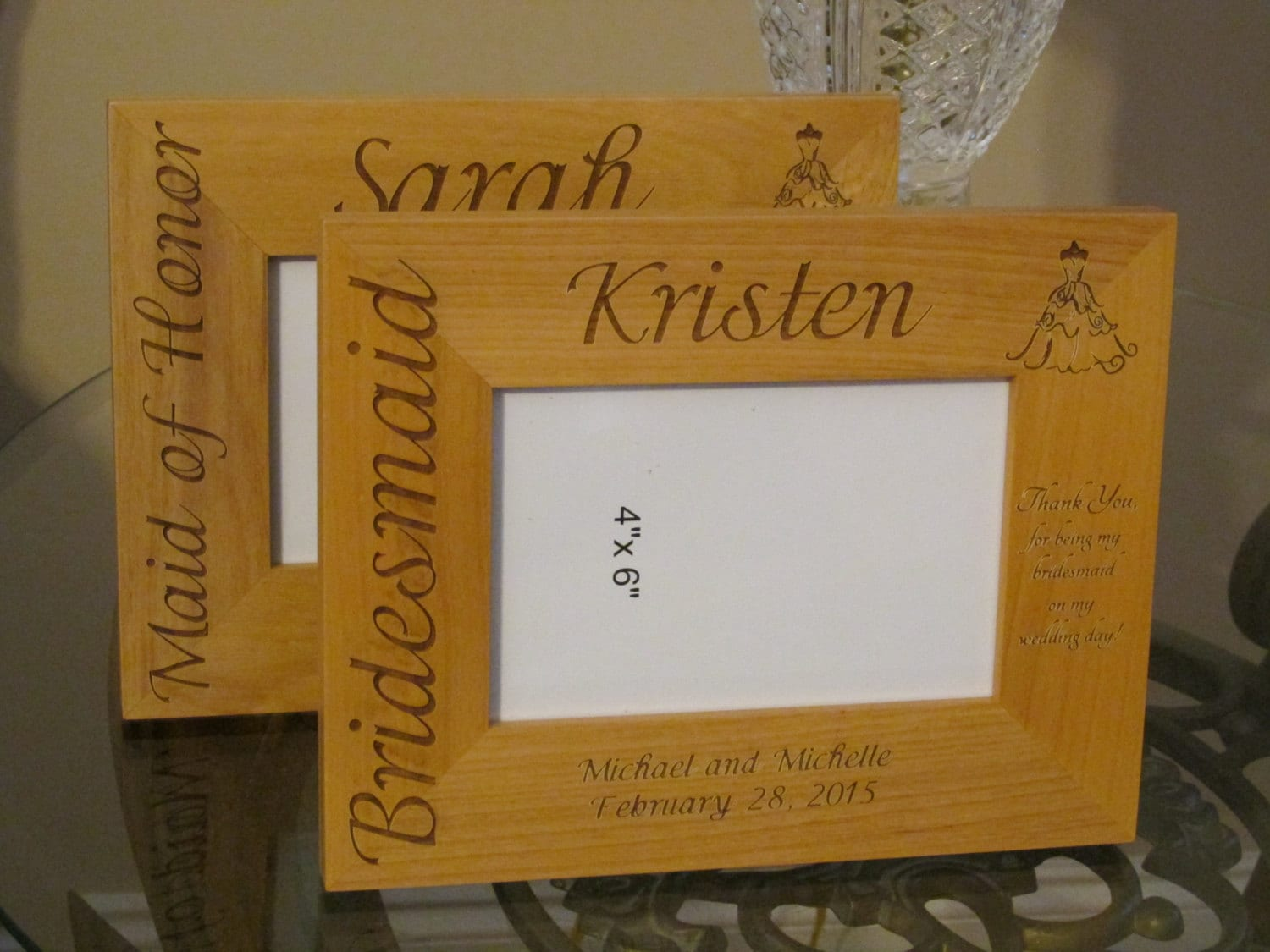 7 Personalized engraved wood picture frame, Maid of Honor gift ...