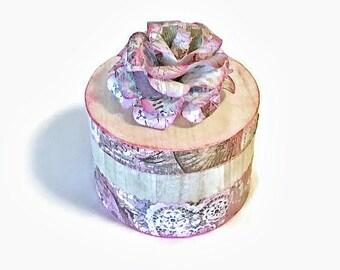 Keepsake Box, Wood Keepsake Box, Decoupaged Box, Girl's Gift, Girl's Rom