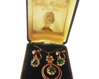 Art Deco paste demi parure earrings and pendant on gold filled chain