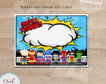 Superhero Thank you card, Super hero note card, Superheroes Birthday party decorations, Party supplies, INSTANT DOWNLOAD