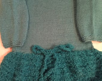 Handmade girl mini knitted dress