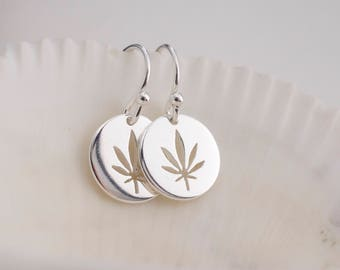 Silver cannabis earrings  - cut out marijuana disc earrings - circle pot earrings - dangle  leaf earrings - weed earrings - 420 earrings