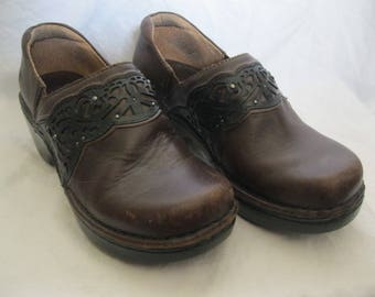 Brown Leather Ariat Clogs/Boots Size 6.5B